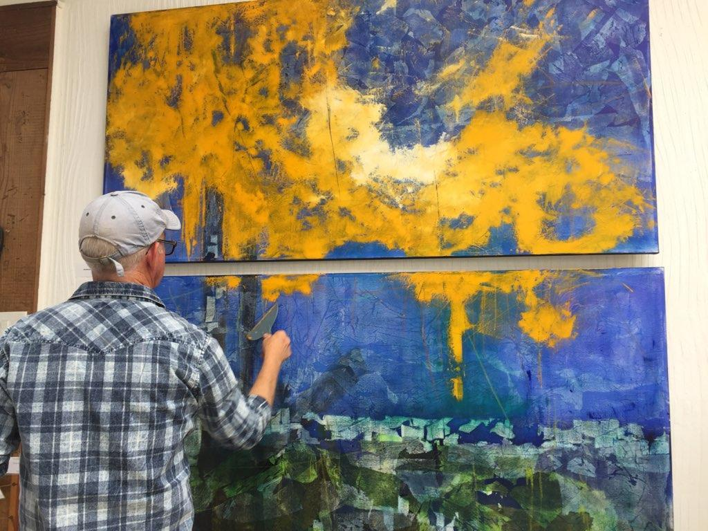 "Patrick working on a Diptych of two 36"" x 72"" paintings"